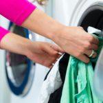 Female student doing laundry