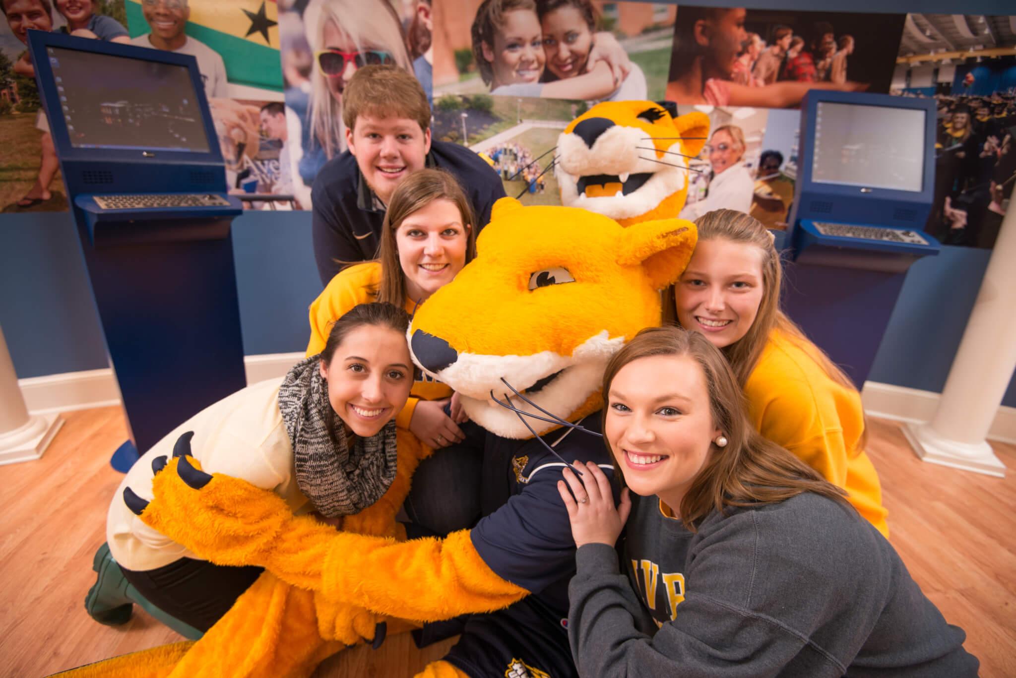 Students with Averett University Mascot